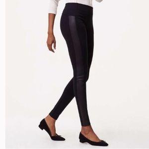 LOFT Faux Leather Tuxedo Stripe Ponte Legging TALL